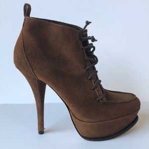 H by Halston Womens Lace up Suede Leather Bootie 7